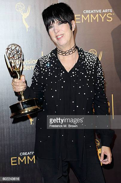 Songwriter Diane Warren winner for Best Original Music and Lyrics poses in the press room at the 2016 Creative Arts Emmy Awards at Microsoft Theater...