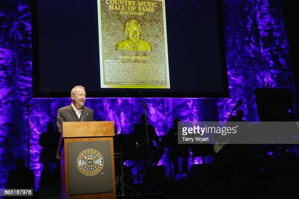 Songwriter Don Schlitz speaks onstage at the Country Music Hall of Fame and Museum Medallion Ceremony to celebrate 2017 hall of fame inductees Alan...