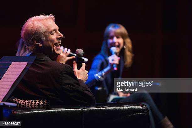 Songwriter drummer producer Bill Rieflin and producer/host of Art Zone Nancy Guppy speak on stage during the Pacific Northwest Songwriter's Summit at...