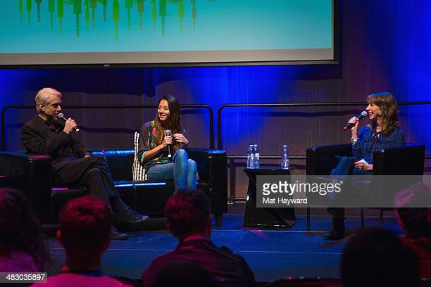 Songwriter drummer producer Bill Rieflin musician Hollis WongWear and producer/host of Art Zone Nancy Guppy speak on stage during the Pacific...