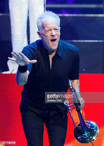 Songwriter James Pankow of rock band Chicago performs on stage at Rogers Arena on November 7 2016 in Vancouver Canada