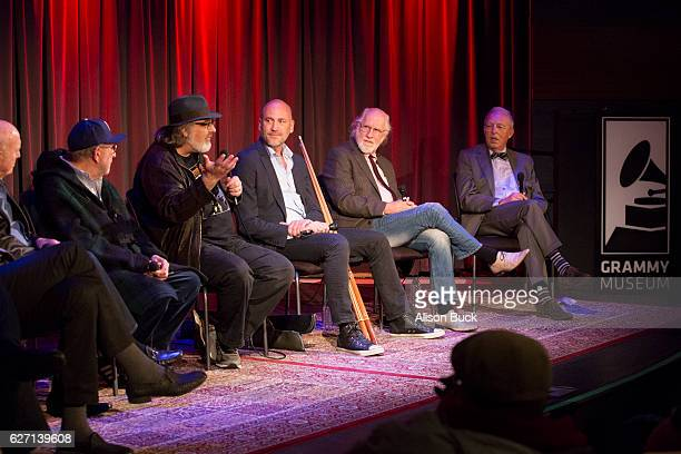 Songwriter Jeff Barry songwriter Mike Stoller music producer Brooks Arthur editorÊBob Sarles Brett Berns Joel Selvin and Bob Merlis onstage during...
