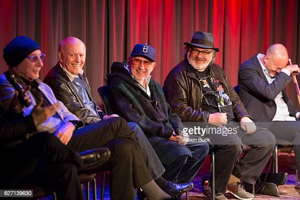 Songwriter Jeff Barry songwriter Mike Stoller music producer Brooks Arthur editorÊBob Sarles and Brett Berns onstage during Bert Berns Event at The...
