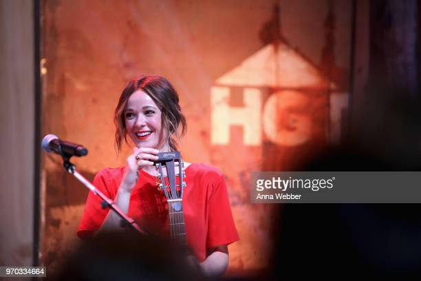 Songwriter Jillian Jacqueline performs onstage for the ASCAP Writers Round in the HGTV Lodge at CMA Music Fest on June 8 2018 in Nashville Tennessee