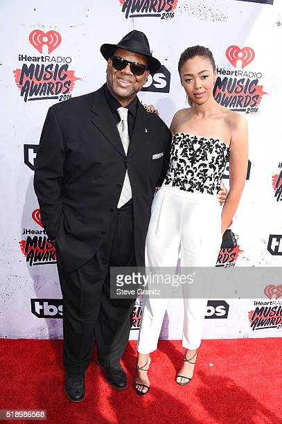 Songwriter Jimmy Jam and guest attend the iHeartRadio Music Awards at The Forum on April 3 2016 in Inglewood California