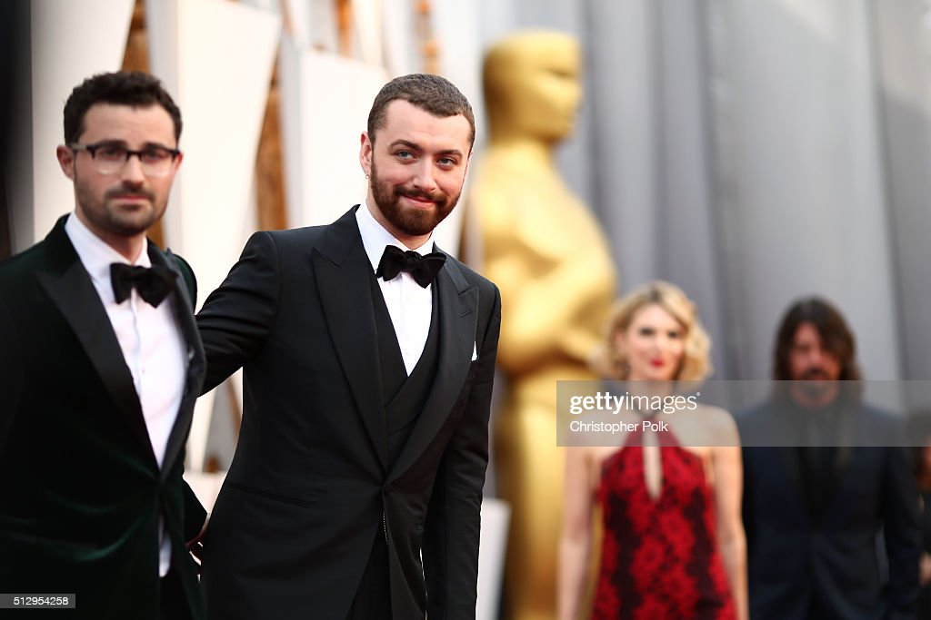 Songwriter Jimmy Napes (L) and singer Sam Smith attend the 88th Annual Academy Awards at Hollywood & Highland Center on February 28, 2016 in Hollywood, California.