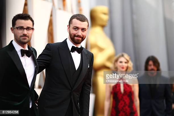 Songwriter Jimmy Napes and singer Sam Smith attend the 88th Annual Academy Awards at Hollywood Highland Center on February 28 2016 in Hollywood...