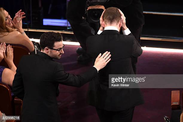 Songwriter Jimmy Napes and singer Sam Smith winners of the award for Best Original Song for 'Writing's on the Wall' walk onstage during the 88th...