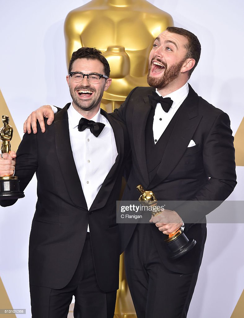 Songwriter Jimmy Napes (L) and singer-songwriter Sam Smith, winners of the Best Original Song award for 'Writing's on the Wall' from 'Spectre,' pose in the press room during the 88th Annual Academy Awards at Loews Hollywood Hotel on February 28, 2016 in Hollywood, California.