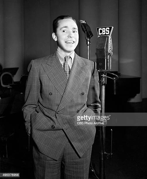 Songwriter Johnny Mercer at a CBS Radio microphone He performs regularly on The Camel Caravan radio program January 17 1939 New York NY