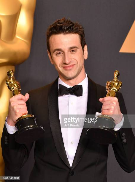 Songwriter Justin Hurwitz winner of the Best Original Song award for 'City of Stars' from 'La La Land' poses in the press room during the 89th Annual...