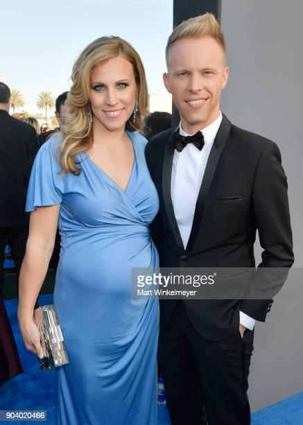 Songwriter Justin Paul and Asher Fogle Paul attend The 23rd Annual Critics' Choice Awards at Barker Hangar on January 11 2018 in Santa Monica...