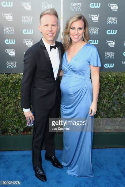Songwriter Justin Paul and Asher Fogle Paul attend the 23rd Annual Critics' Choice Awards on January 11 2018 in Santa Monica California
