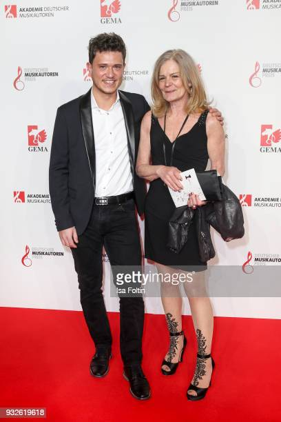 Songwriter Jutta Staudenmayer and guest during the German musical authors award on March 15 2018 in Berlin Germany
