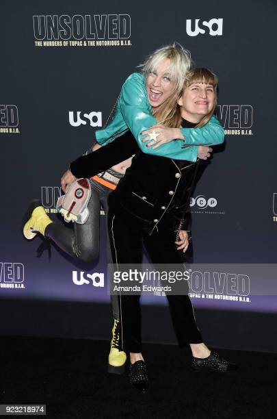 Songwriter Kate Crash and director Catherine Hardwicke arrive at the premiere of USA Network's 'Unsolved The Murders of Tupac and The Notorious BIG'...