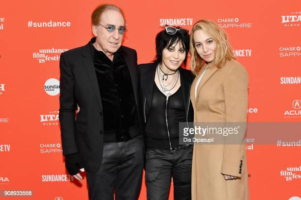 Songwriter Kenny Laguna singer Joan Jett and producer Carianne Brinkman attend the 'Bad Reputation' Premiere during the 2018 Sundance Film Festival...