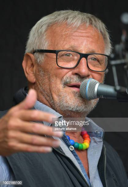 Songwriter Konstantin Wecker performs during the campaign day 'Buechel ist ueberall atomwaffenfreijetz' in front of the main gate of the Buechel air...