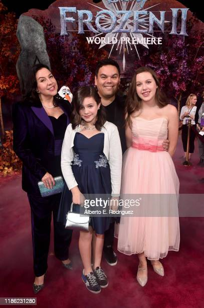 Songwriter Kristen AndersonLopez Annie Lopez songwriter Robert Lopez and Katie Lopez attend the world premiere of Disney's Frozen 2 at Hollywood's...