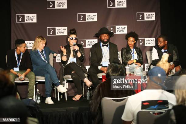 Songwriter Leah Palmer songwriter Fran Hall songwriter Rachel Assil songwriter Vincent Berry musician Tia P and producer J Rhodes speaks onstage at...