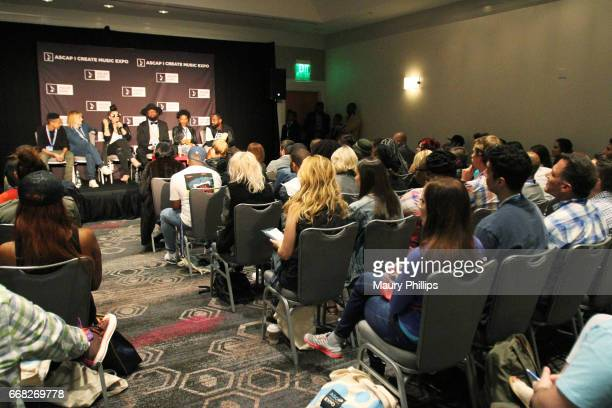 Songwriter Leah Palmer songwriter Fran Hall songwriter Rachel Assil songwriter Vincent Berry musician Tia P and producer J Rhodes speak onstage at...