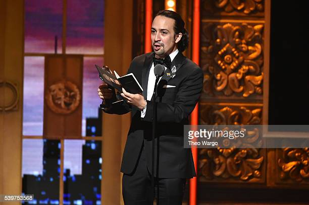 Songwriter LinManuel Miranda accepts the award for Best Book of A Musical for 'Hamilton' onstage during the 70th Annual Tony Awards at The Beacon...