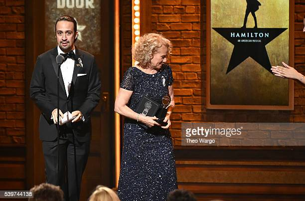 Songwriter LinManuel Miranda accepts Tony award onstage during the 70th Annual Tony Awards at The Beacon Theatre on June 12 2016 in New York City