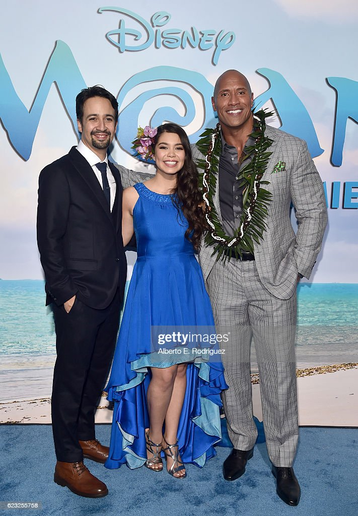 Songwriter Lin-Manuel Miranda, actors Auli'i Cravalho and Dwayne Johnson attend The World Premiere of Disney's 'MOANA' at the El Capitan Theatre on Monday, November 14, 2016 in Hollywood, CA.