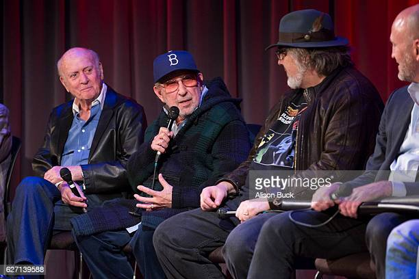 Songwriter Mike Stoller music producer Brooks Arthur editor/producer Bob Sarles onstage during Bert Berns Event at The GRAMMY Museum on December 1...