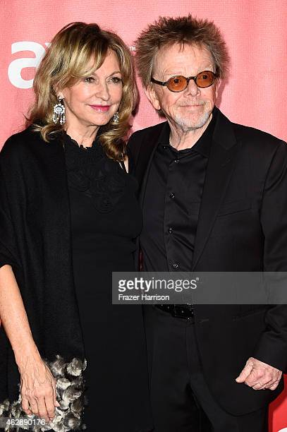 Songwriter Paul Williams and Mariana Williams attend the 25th anniversary MusiCares 2015 Person Of The Year Gala honoring Bob Dylan at the Los...