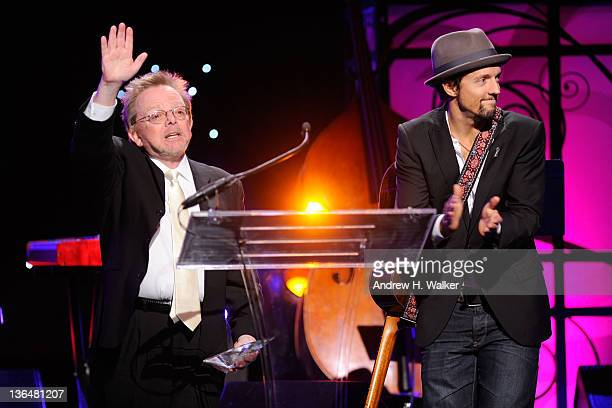 Songwriter Paul Williams and musician Jason Mraz speak onstage at the VH1 Save The Music Foundation 2010 Gala at Cipriani Wall Street on November 8,...