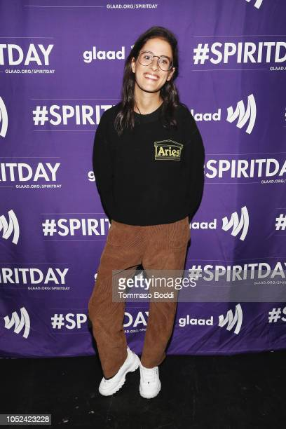 Songwriter Sarah Aarons attends Justin Tranter And GLAAD Present 'BEYOND' Spirit Day Concert at The Sayers Club on October 17 2018 in Hollywood...