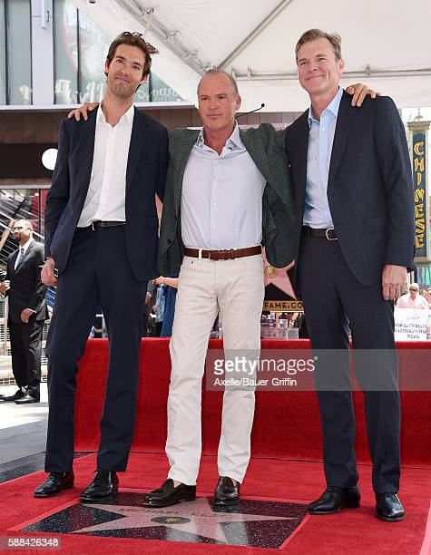 Songwriter Sean Douglas actor Michael Keaton and Director John Lee Hancock attend the ceremony honoring Michael Keaton with a star on the Hollywood...