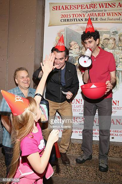 Songwriter Wayne Kirkpatrick actors Brian d'Arcy James and John Cariani attend Broadway's Something Rotten celebration during the 400th Anniversary...