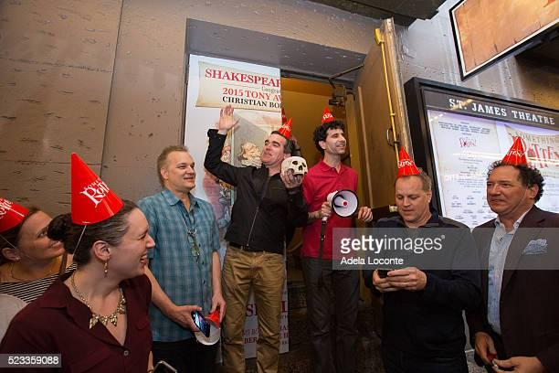 Songwriter Wayne Kirkpatrick Actors Brian D'Arcy James and John Cariani screenwriter Karey Kirkpatrick and Kevin McCullam attend Broadway's...