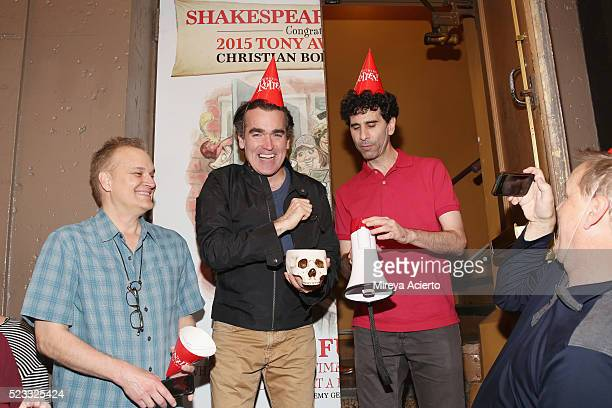 Songwriter Wayne Kirkpatrick actors Brian d'Arcy James John Cariani and screenwriter Karey Kirkpatrick attend Broadway's Something Rotten celebration...