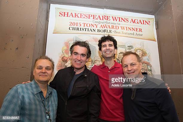 Songwriter Wayne Kirkpatrick actors Brian d'Arcy James John Cariani and screenwriter Karey Kirkpatrick attend Broadway's 'Something Rotten'...