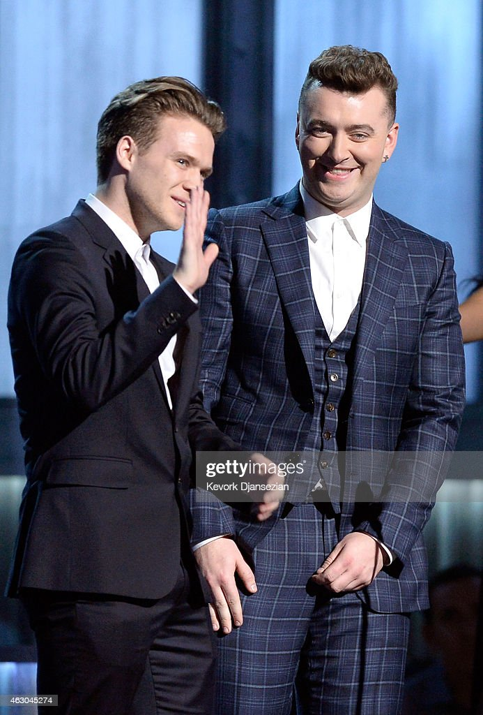 Songwriter William Phillips and singer Sam Smith onstage during The 57th Annual GRAMMY Awards at the at the STAPLES Center on February 8, 2015 in Los Angeles, California.