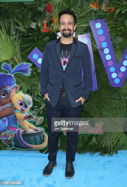 """Songwriter/executive producer Lin-Manuel Miranda attends the """"VIVO"""" New York screening at Village East by Angelika on July 31, 2021 in New York City."""