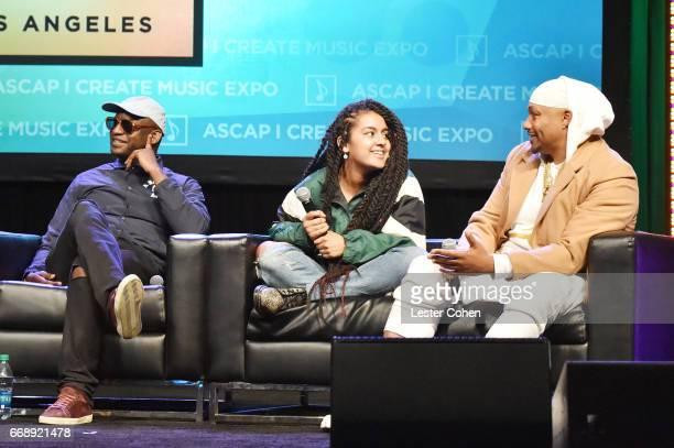 Songwriterproducer Jean Baptiste singersongwriter Bibi Bourelly and songwriterproducer Malik Yusef Jones speak onstage at 'Word Up Turning Lyrics...