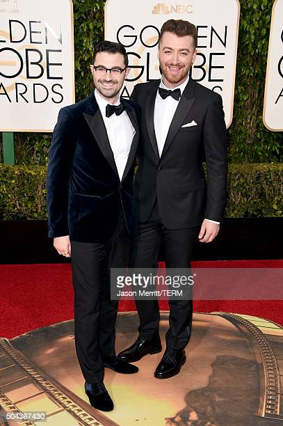 Songwriter/producer Jimmy Napes and singer Sam Smith attend the 73rd Annual Golden Globe Awards held at the Beverly Hilton Hotel on January 10 2016...