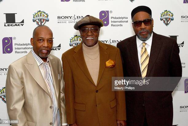 Songwriter/producer Leon Huff, singer Billy Paul and songwriter/producer Kenneth Gamble arrive at the Four Seasons Hotel for a special evening of...