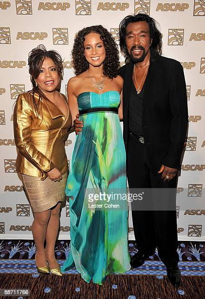 Songwriter/producer Valerie Simpson musician Alicia Keys and songwriter/producer Nickolas Ashford pose in the press room during the 22nd annual ASCAP...