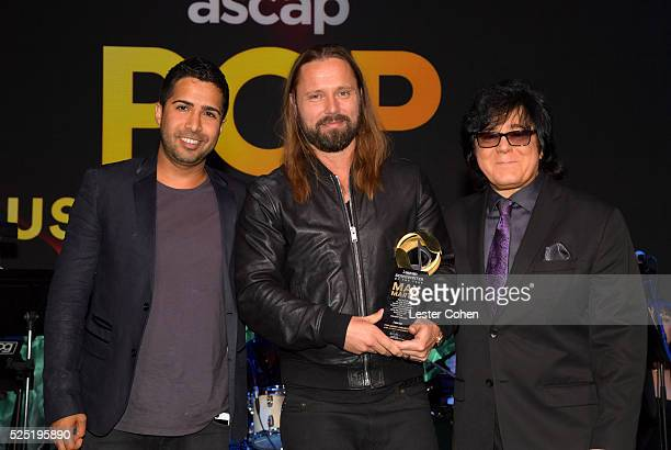 Songwriter/record producer Savan Kotecha honoree Max Martin and ASCAP Executive Vice President Membership John Titta pose onstage during the 2016...