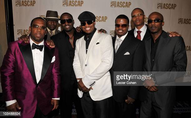 Songwriter/recording artist NeYo and New Edition's Michael Bivins Bobby Brown Johnny Gill Ricky Bell Ronnie Devoe and Ralph Tresvant inside the press...