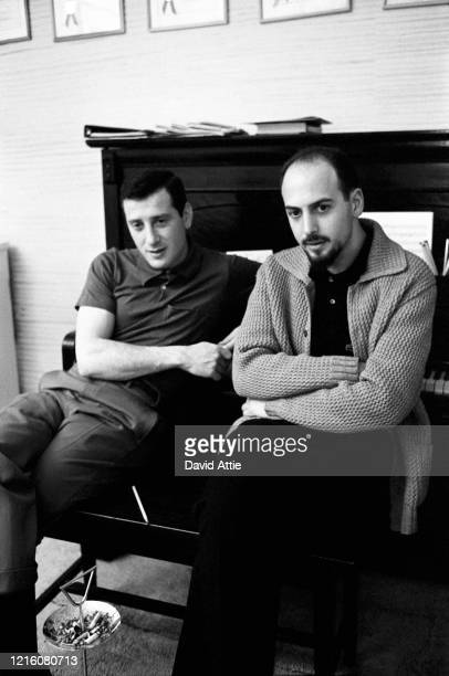 Songwriters and producers Mike Stoller and Jerry Leiber during a photo shoot for Vogue Magazine in Stoller's apartment in 1959 in New York City New...