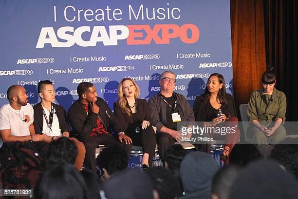 Songwriters Augie Ray and Jintae Ko of TRiON Disney Music Group AR Director Brandon Kitchen Matrix Artists President Jennifer Horton attorney Gary...