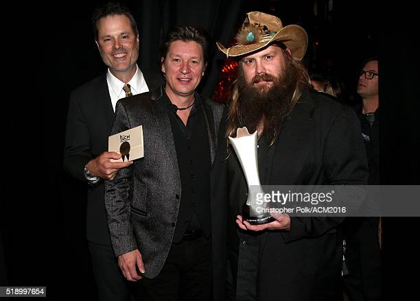 Songwriters Barry BalesRonnie Bowman and singer Chris Stapleton attend the 51st Academy of Country Music Awards at MGM Grand Garden Arena on April 3...