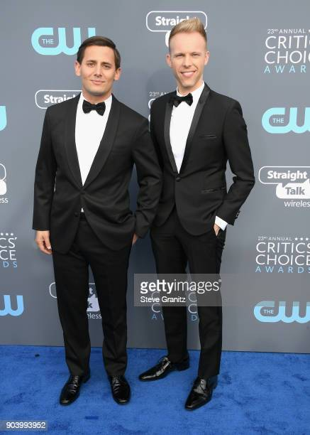 Songwriters Benj Pasek and Justin Paul attend The 23rd Annual Critics' Choice Awards at Barker Hangar on January 11 2018 in Santa Monica California