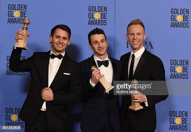 Songwriters Benj Pasek, Justin Hurwitz and Justin Paul, winners of Best Original Song for 'City of Stars' from 'La La Land,' pose in the press room...