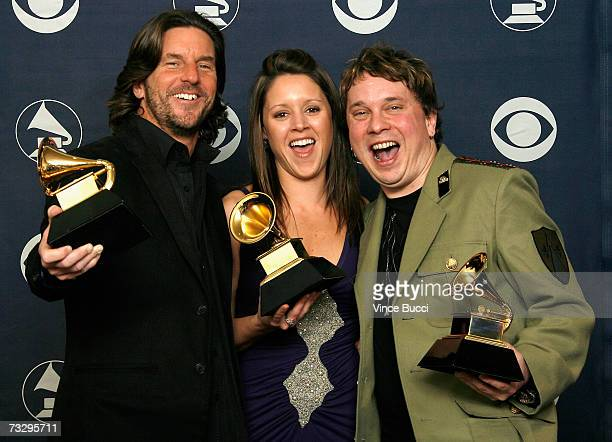 Songwriters Brett James Hilary Lindsey and Gordie Sampson poses Best Country Song Grammy in the press room at the 49th Annual Grammy Awards at the...